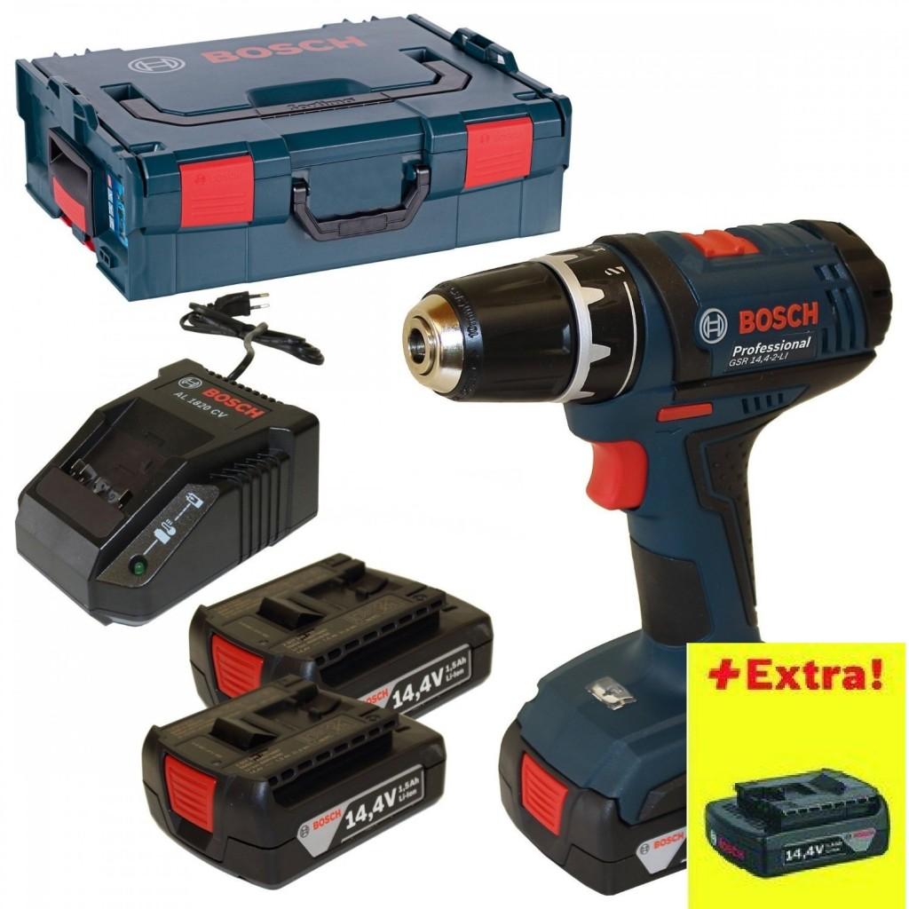 Bosch Akkuschrauber +GSR14,4-2-LI 3 x 1,5 Ah L-Boxx 0615990FD6 [Energieklasse A]2